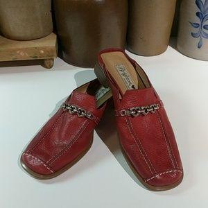 Brighton Red Leather Slides